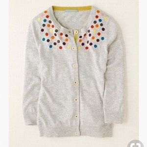 Boden Embroidered Spot Grey Cardigan